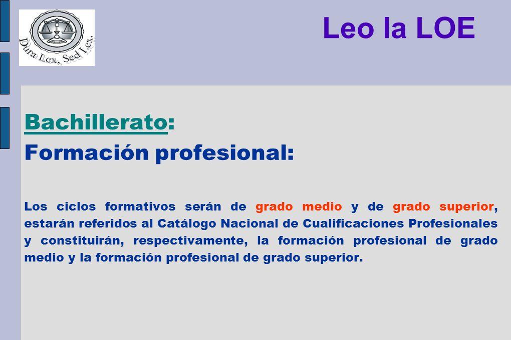 Leo la LOE Bachillerato: Formación profesional: Los ciclos formativos serán de grado medio y de grado superior, estarán referidos al Catálogo Nacional