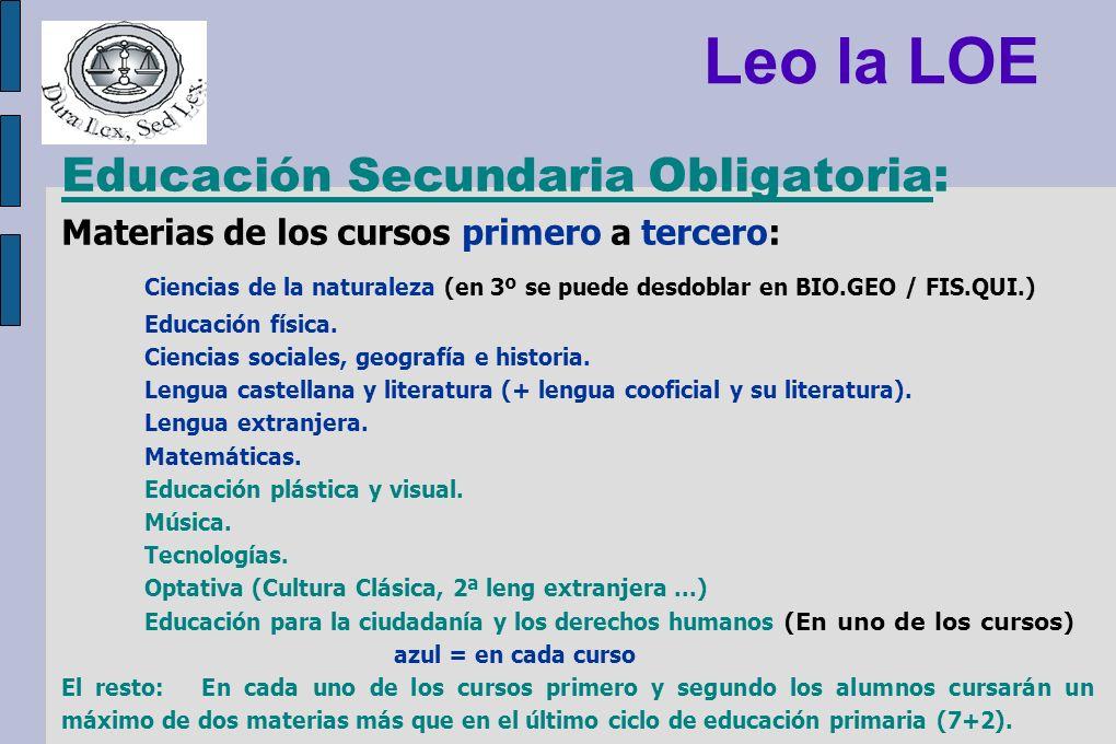 Educación Secundaria Obligatoria: Materias de los cursos primero a tercero: Ciencias de la naturaleza (en 3º se puede desdoblar en BIO.GEO / FIS.QUI.)