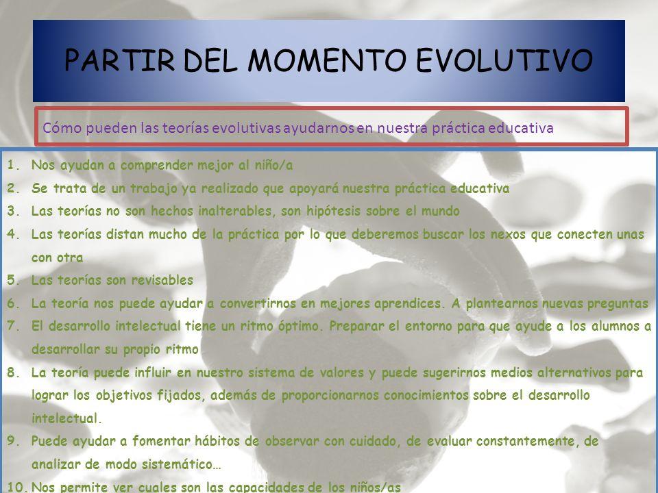 PARTIR DEL MOMENTO EVOLUTIVO Cómo pueden las teorías evolutivas ayudarnos en nuestra práctica educativa 1.Nos ayudan a comprender mejor al niño/a 2.Se