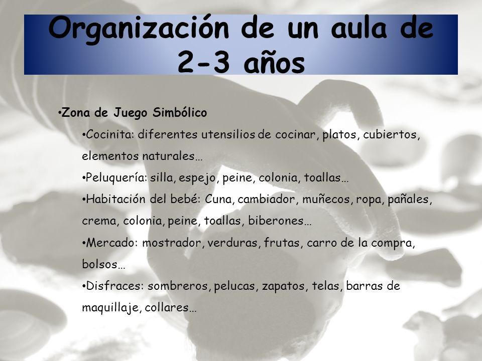 Organización de un aula de 2-3 años Zona de Juego Simbólico Cocinita: diferentes utensilios de cocinar, platos, cubiertos, elementos naturales… Peluqu