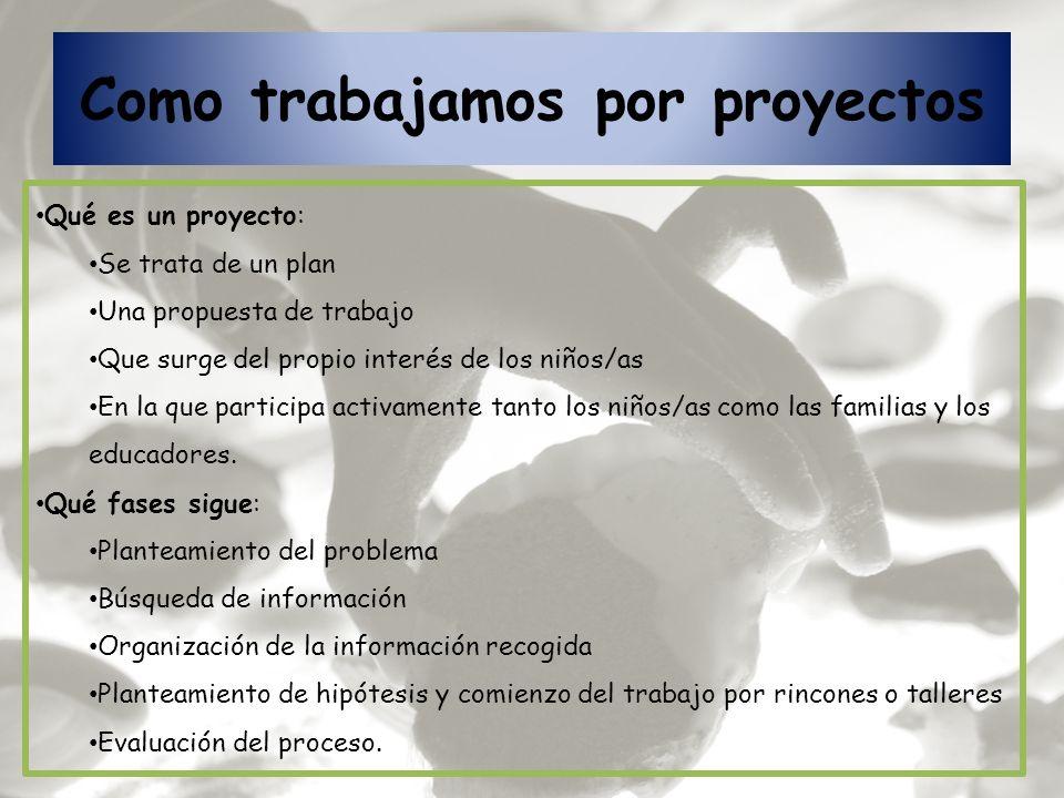 Como trabajamos por proyectos Qué es un proyecto: Se trata de un plan Una propuesta de trabajo Que surge del propio interés de los niños/as En la que