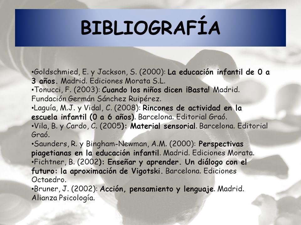 BIBLIOGRAFÍA Goldschmied, E. y Jackson, S. (2000): La educación infantil de 0 a 3 años. Madrid. Ediciones Morata S.L. Tonucci, F. (2003): Cuando los n