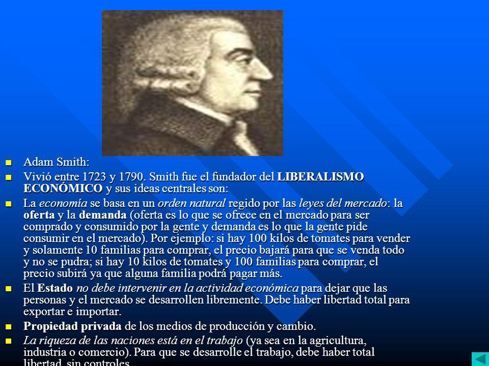 La Riqueza de las naciones.Adam Smith Smith desarrolla una teoría económica que defiende los intereses de los países desa rrollados: un país industrializado necesita 3 cosas: Smith desarrolla una teoría económica que defiende los intereses de los países desa rrollados: un país industrializado necesita 3 cosas: Materias primas baratas en mucha cantidad.