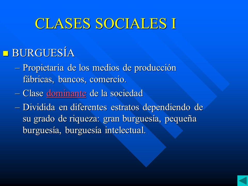 CLASES SOCIALES II PROLETARIADO PROLETARIADO –Poseen su fuerza de trabajo que venden a cambio de un salario –Proceden en su inmensa mayoría, de las áreas rurales.