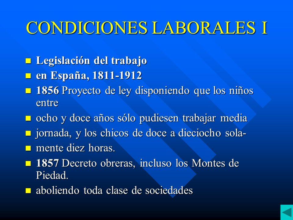 CONDICIONES LABORALES II 1887 Ley de Asociaciones, que autoriza la constitución de sindicatos obreros.
