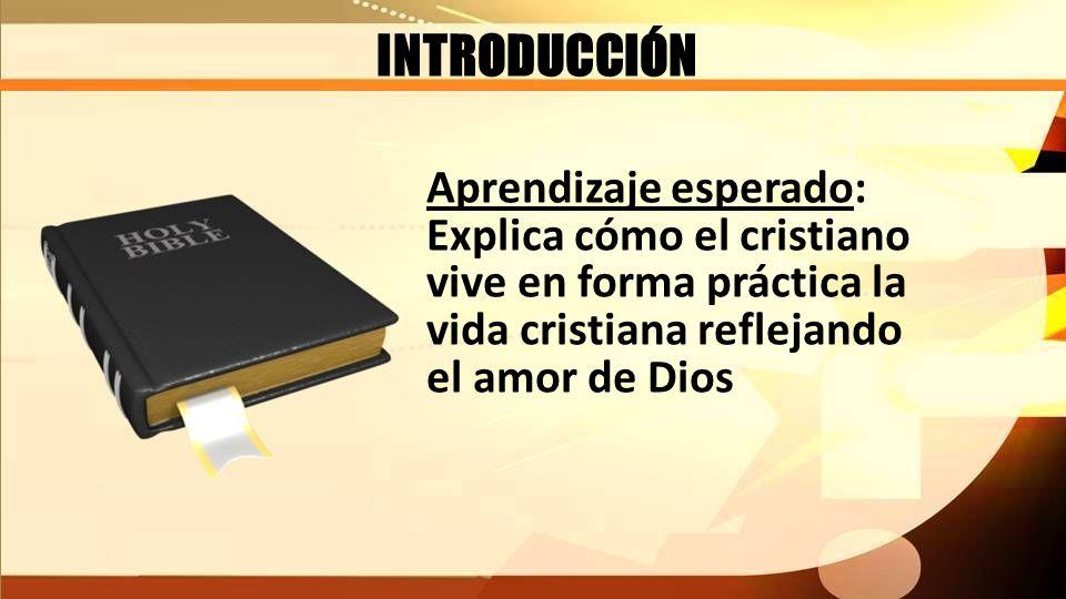 INTRODUCCIÓN Aprendizaje esperado: Explica cómo el cristiano vive en forma práctica la vida cristiana reflejando el amor de Dios
