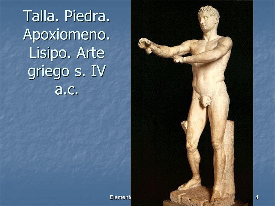 Elementos escultóricos4 Talla. Piedra. Apoxiomeno. Lisipo. Arte griego s. IV a.c.