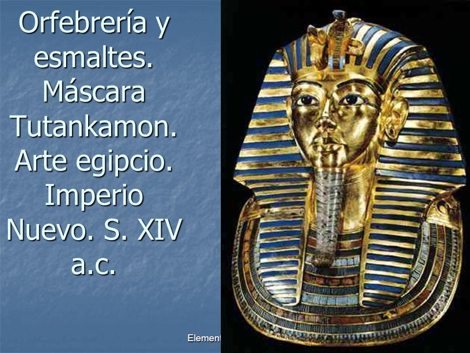 Elementos escultóricos9 Orfebrería y esmaltes. Máscara Tutankamon. Arte egipcio. Imperio Nuevo. S. XIV a.c.