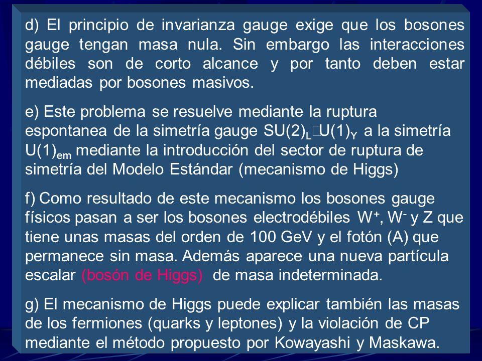 a) Es una teoría gauge basada en el grupo SU(3) C SU(2) L U(1) Y b) Las interacciones fuertes se describen mediante la Cromodinámica Cuántica basada e
