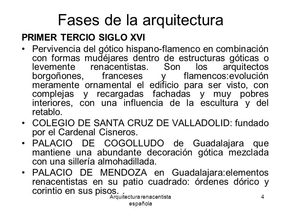 Arquitectura renacentista española 4 Fases de la arquitectura PRIMER TERCIO SIGLO XVI Pervivencia del gótico hispano-flamenco en combinación con forma