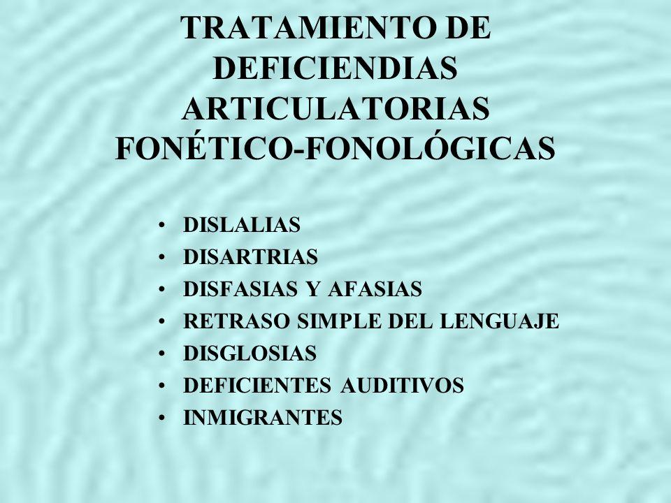 TRATAMIENTO DE DEFICIENDIAS ARTICULATORIAS FONÉTICO-FONOLÓGICAS DISLALIAS DISARTRIAS DISFASIAS Y AFASIAS RETRASO SIMPLE DEL LENGUAJE DISGLOSIAS DEFICI