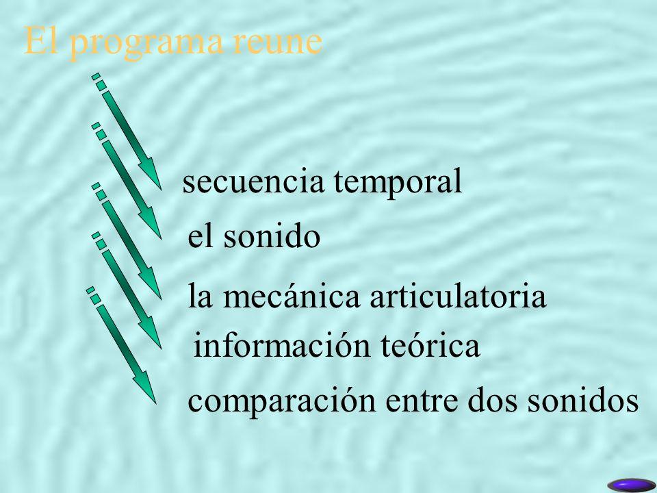 El programa reune comparación entre dos sonidos secuencia temporal el sonido la mecánica articulatoria información teórica
