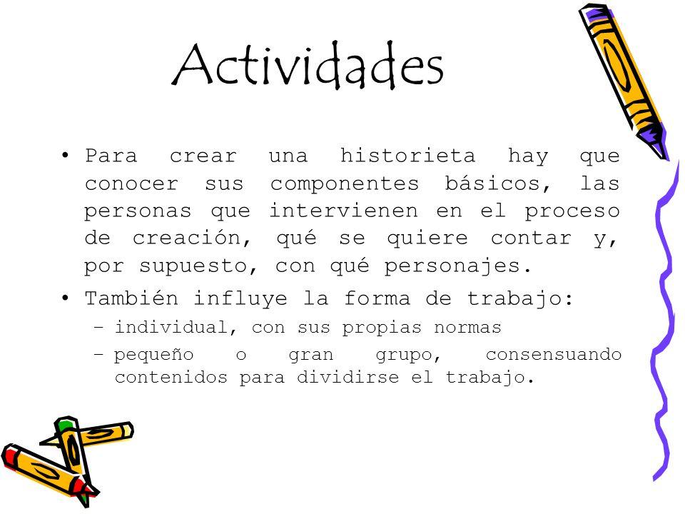 Actividades Para crear una historieta hay que conocer sus componentes básicos, las personas que intervienen en el proceso de creación, qué se quiere c