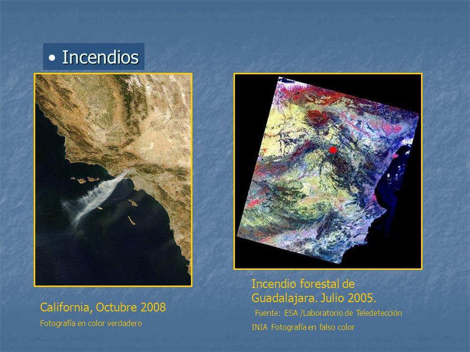 Incendios Incendio forestal de Guadalajara. Julio 2005. Fuente: ESA /Laboratorio de Teledetección INIA Fotografía en falso color California, Octubre 2