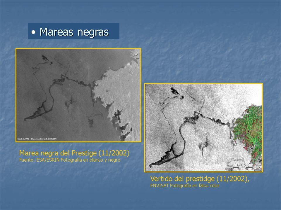 Mareas negras Marea negra del Prestige (11/2002) Fuente: ESA/ESRIN Fotografía en blanco y negro Vertido del prestidge (11/2002), ENVISAT Fotografía en