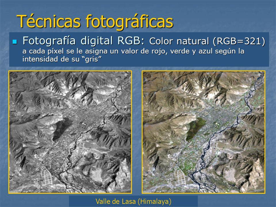 Técnicas fotográficas Fotografía digital RGB: Color natural (RGB=321) a cada píxel se le asigna un valor de rojo, verde y azul según la intensidad de