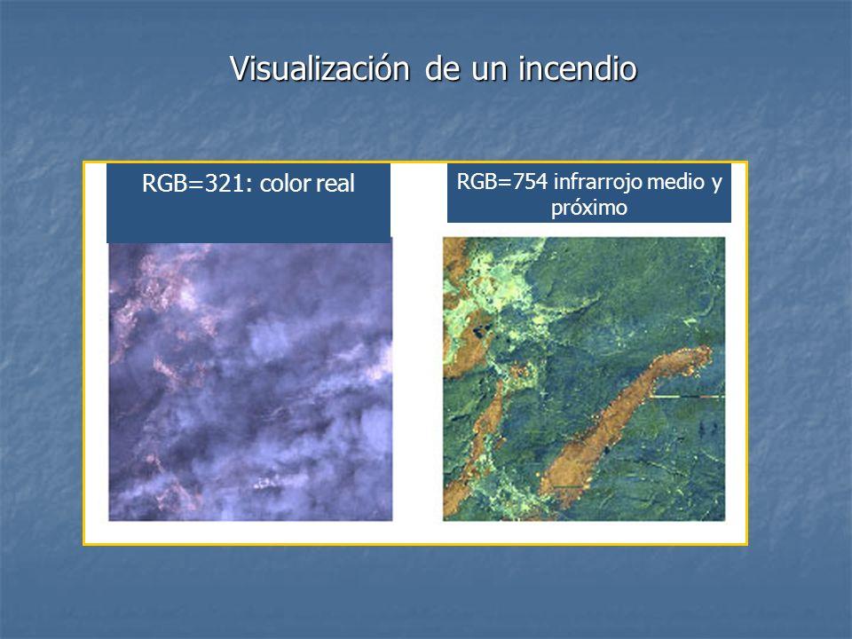 Visualización de un incendio RGB=321: color real RGB=754 infrarrojo medio y próximo