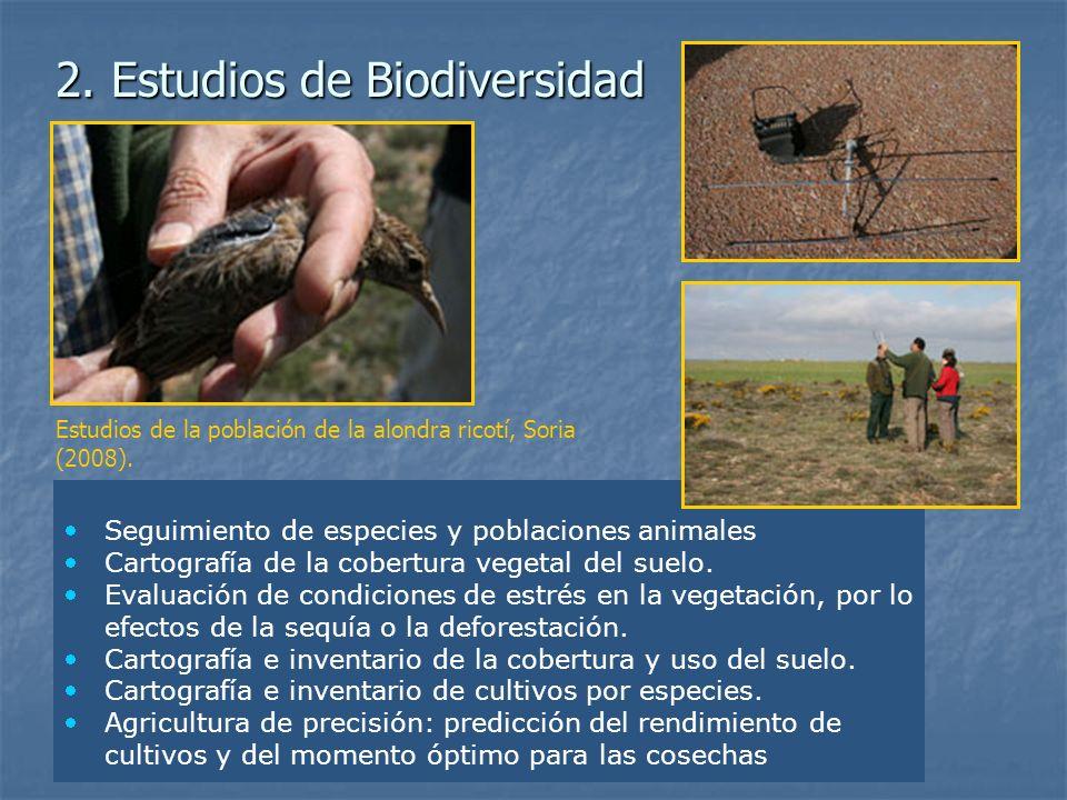 Seguimiento de especies y poblaciones animales Cartografía de la cobertura vegetal del suelo. Evaluación de condiciones de estrés en la vegetación, po