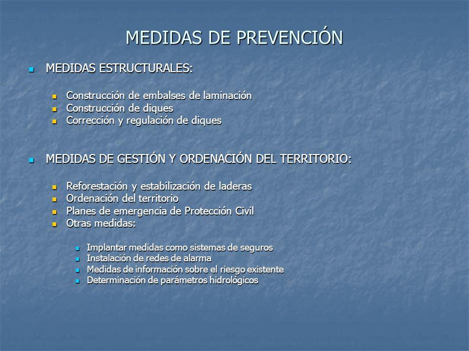 MEDIDAS DE PREVENCIÓN MEDIDAS ESTRUCTURALES: MEDIDAS ESTRUCTURALES: Construcción de embalses de laminación Construcción de embalses de laminación Cons
