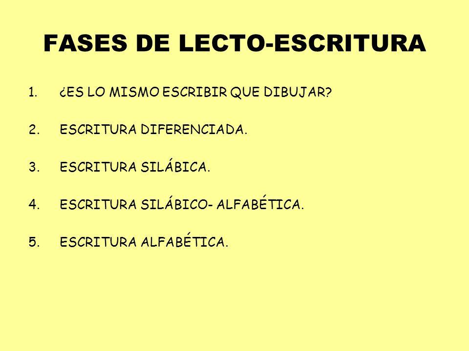 FASES DE LECTO-ESCRITURA 1.¿ES LO MISMO ESCRIBIR QUE DIBUJAR? 2.ESCRITURA DIFERENCIADA. 3.ESCRITURA SILÁBICA. 4.ESCRITURA SILÁBICO- ALFABÉTICA. 5.ESCR