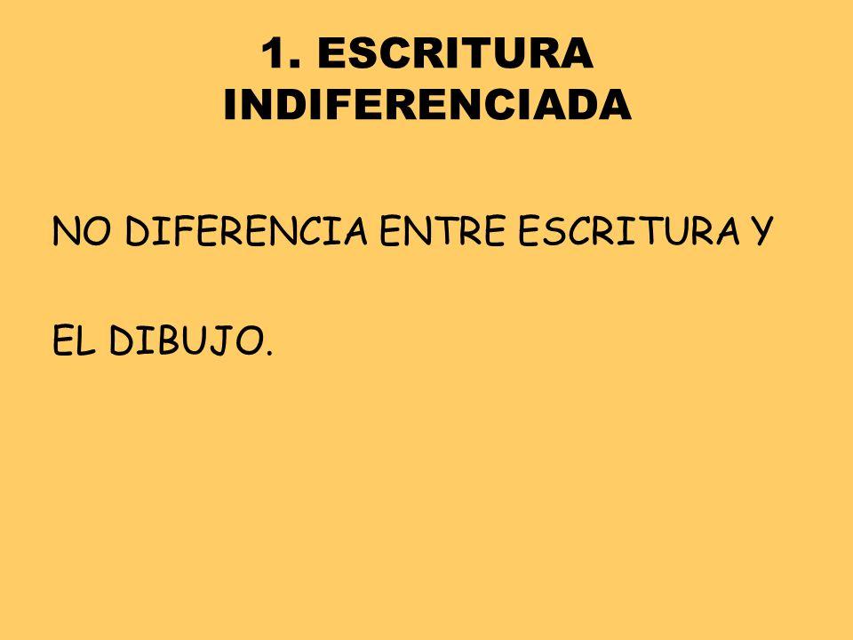 1. ESCRITURA INDIFERENCIADA NO DIFERENCIA ENTRE ESCRITURA Y EL DIBUJO.