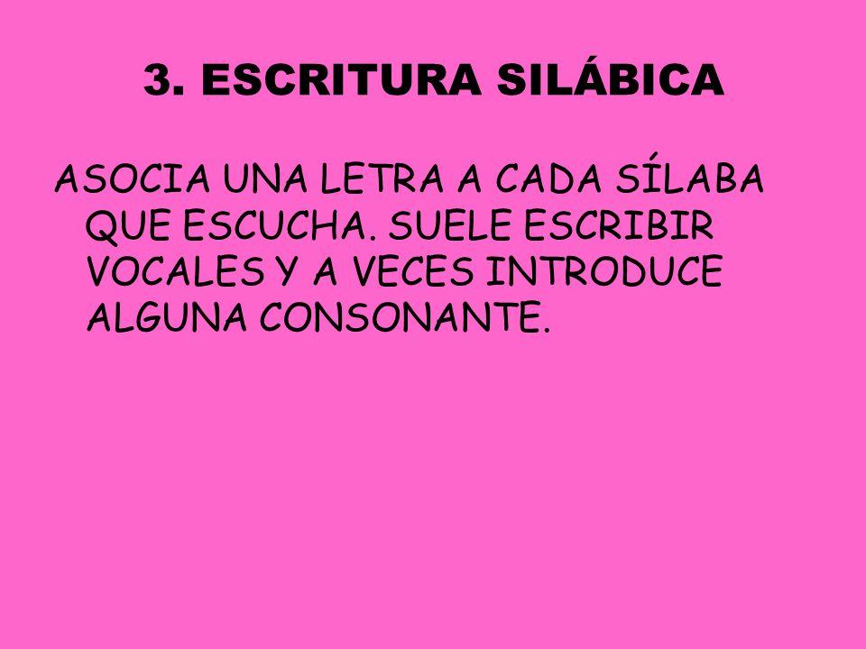 EJEMPLO DE ESCRITURA SILÁBICA :