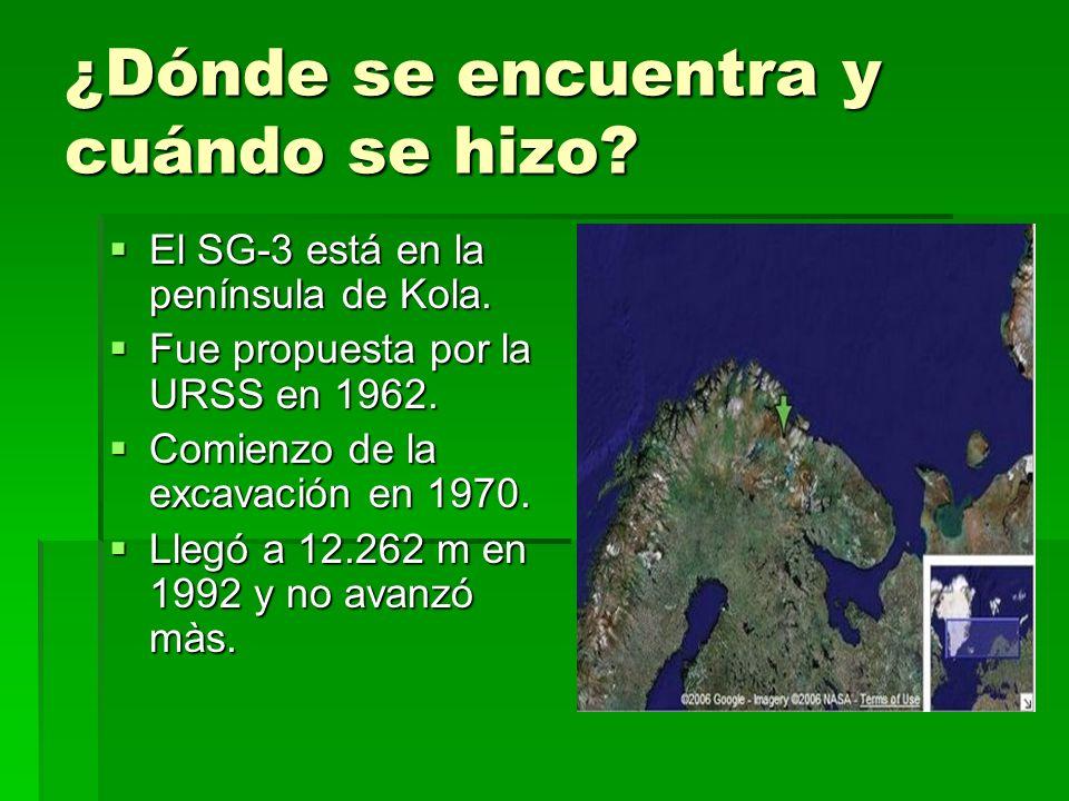 ¿Dónde se encuentra y cuándo se hizo? El SG-3 está en la península de Kola. El SG-3 está en la península de Kola. Fue propuesta por la URSS en 1962. F