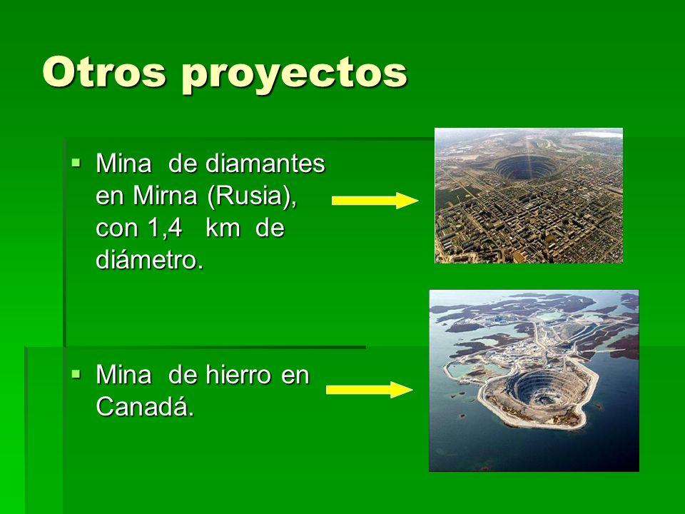 Otros proyectos Mina de diamantes en Mirna (Rusia), con 1,4 km de diámetro. Mina de diamantes en Mirna (Rusia), con 1,4 km de diámetro. Mina de hierro