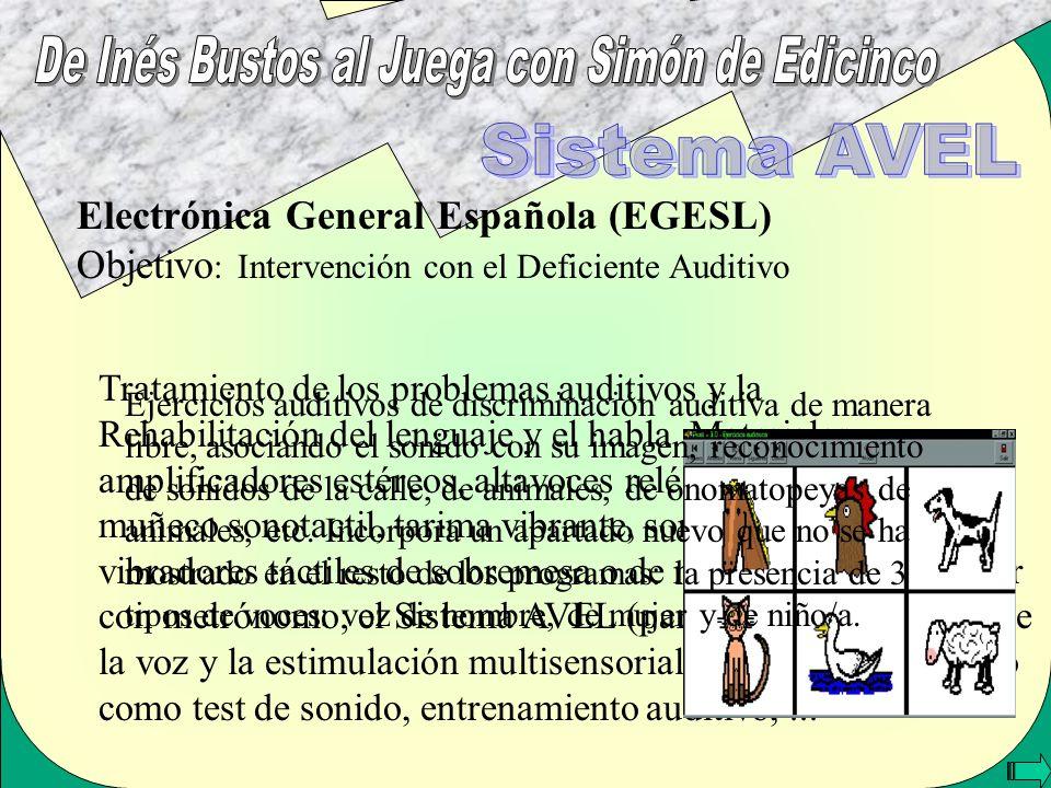 Electrónica General Española (EGESL) Objetivo : Intervención con el Deficiente Auditivo Tratamiento de los problemas auditivos y la Rehabilitación del