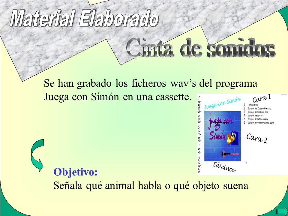 Se han grabado los ficheros wavs del programa Juega con Simón en una cassette. Objetivo: Señala qué animal habla o qué objeto suena