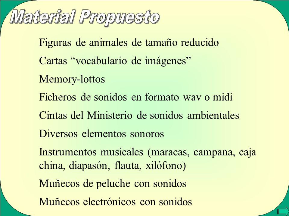 Figuras de animales de tamaño reducido Cartas vocabulario de imágenes Memory-lottos Ficheros de sonidos en formato wav o midi Cintas del Ministerio de