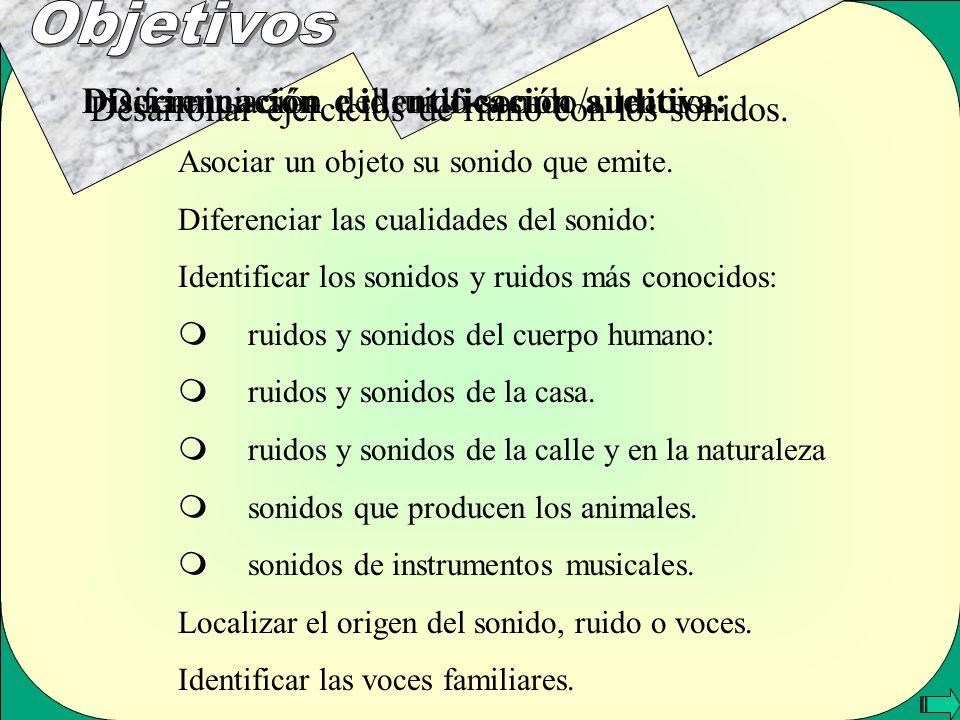 Diferenciación del ruido-sonido/silencio. Desarrollar ejercicios de ritmo con los sonidos. Discriminación e identificación auditiva: Asociar un objeto