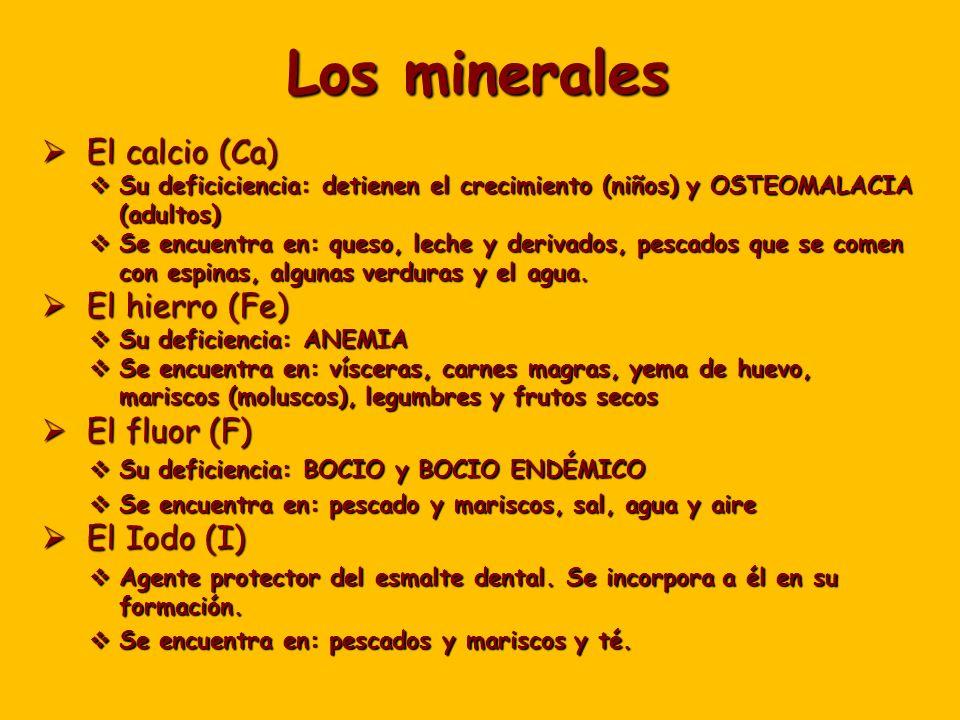 Los minerales El calcio (Ca) El calcio (Ca) Su deficiciencia: detienen el crecimiento (niños) y OSTEOMALACIA (adultos) Su deficiciencia: detienen el crecimiento (niños) y OSTEOMALACIA (adultos) Se encuentra en: queso, leche y derivados, pescados que se comen con espinas, algunas verduras y el agua.