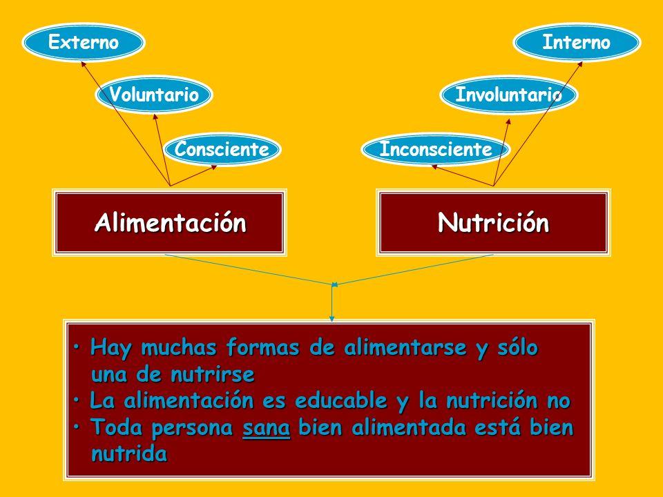 AlimentaciónNutrición Externo Voluntario Consciente Interno Inconsciente Involuntario Hay muchas formas de alimentarse y sólo Hay muchas formas de alimentarse y sólo una de nutrirse una de nutrirse La alimentación es educable y la nutrición no La alimentación es educable y la nutrición no Toda persona sana bien alimentada está bien Toda persona sana bien alimentada está bien nutrida nutrida