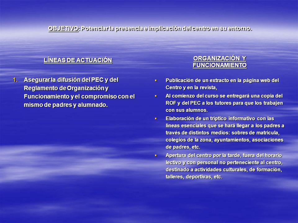 OBJETIVO: Potenciar la presencia e implicación del centro en su entorno. OBJETIVO: Potenciar la presencia e implicación del centro en su entorno. LÍNE