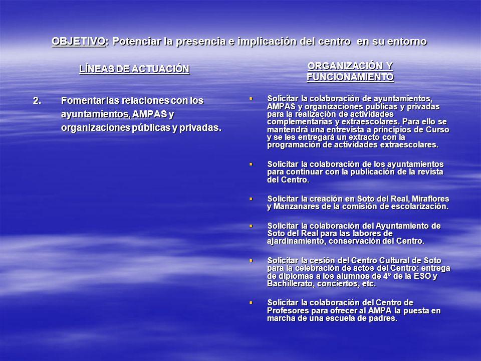 OBJETIVO: Potenciar la presencia e implicación del centro en su entorno LÍNEAS DE ACTUACIÓN 2.Fomentar las relaciones con los ayuntamientos, AMPAS y o
