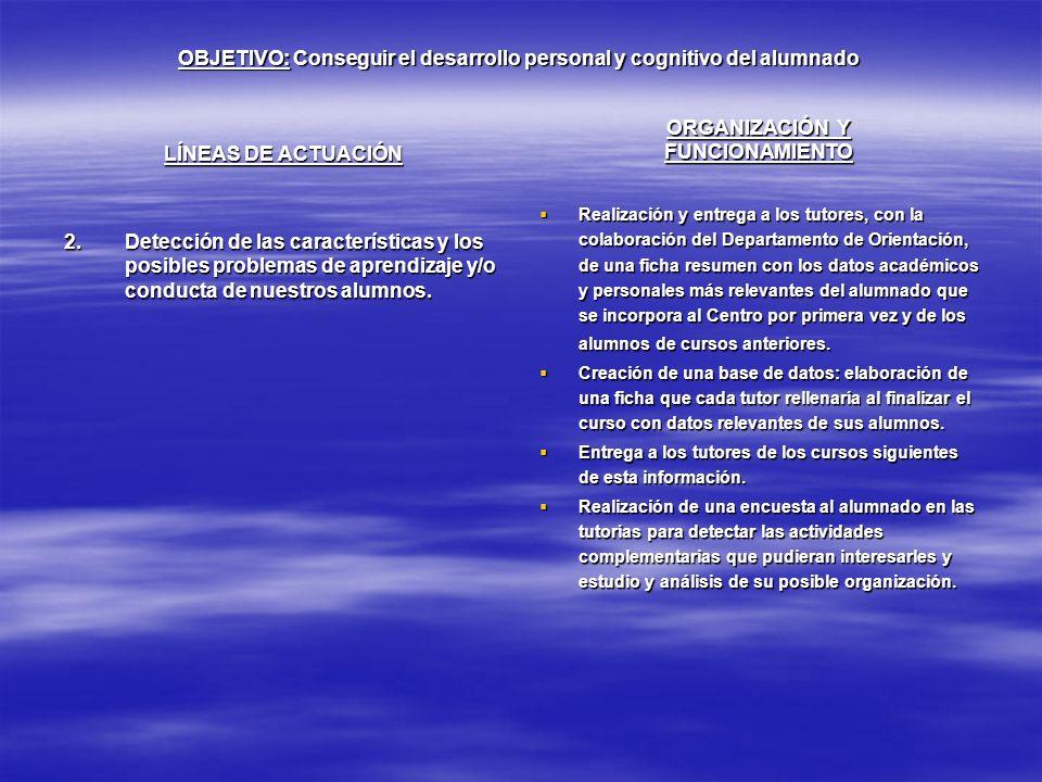 OBJETIVO: Conseguir el desarrollo personal y cognitivo del alumnado LÍNEAS DE ACTUACIÓN 2.Detección de las características y los posibles problemas de