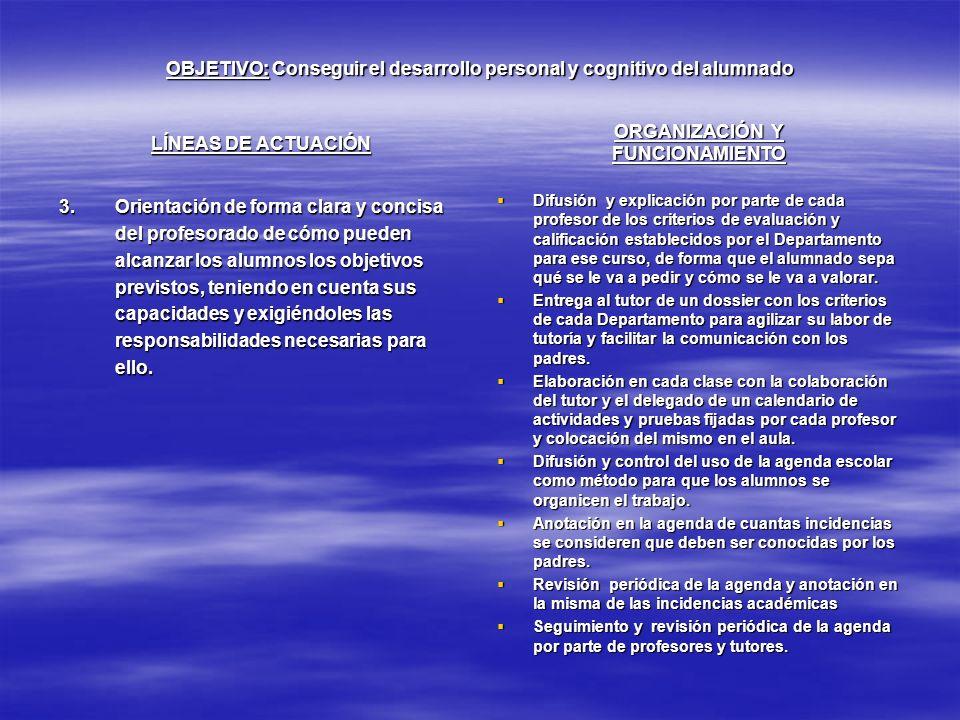 OBJETIVO: Conseguir el desarrollo personal y cognitivo del alumnado LÍNEAS DE ACTUACIÓN 3.Orientación de forma clara y concisa del profesorado de cómo
