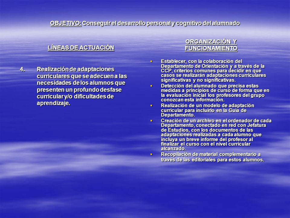 OBJETIVO: Conseguir el desarrollo personal y cognitivo del alumnado LÍNEAS DE ACTUACIÓN 4.Realización de adaptaciones curriculares que se adecuen a la