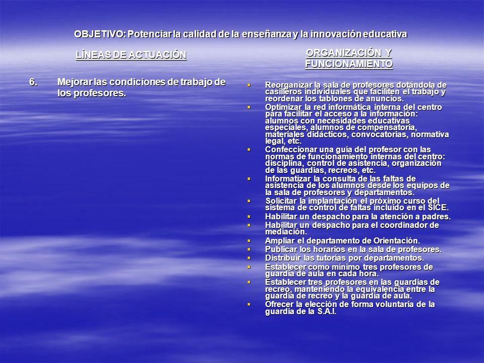 OBJETIVO: Potenciar la calidad de la enseñanza y la innovación educativa LÍNEAS DE ACTUACIÓN 6.Mejorar las condiciones de trabajo de los profesores. O