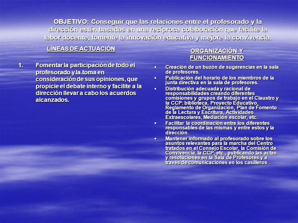 OBJETIVO: Potenciar la calidad de la enseñanza y la innovación educativa LÍNEAS DE ACTUACIÓN 5.Potenciar el uso de las nuevas tecnologías, tanto de los medios informáticos como de los audiovisuales.