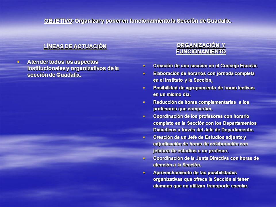 OBJETIVO: Organizar y poner en funcionamiento la Sección de Guadalix. LÍNEAS DE ACTUACIÓN Atender todos los aspectos institucionales y organizativos d