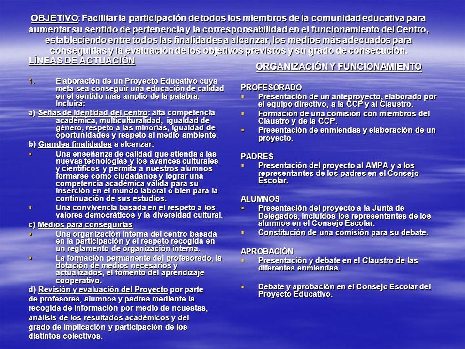 OBJETIVO: Facilitar la participación de todos los miembros de la comunidad educativa para aumentar su sentido de pertenencia y la corresponsabilidad e