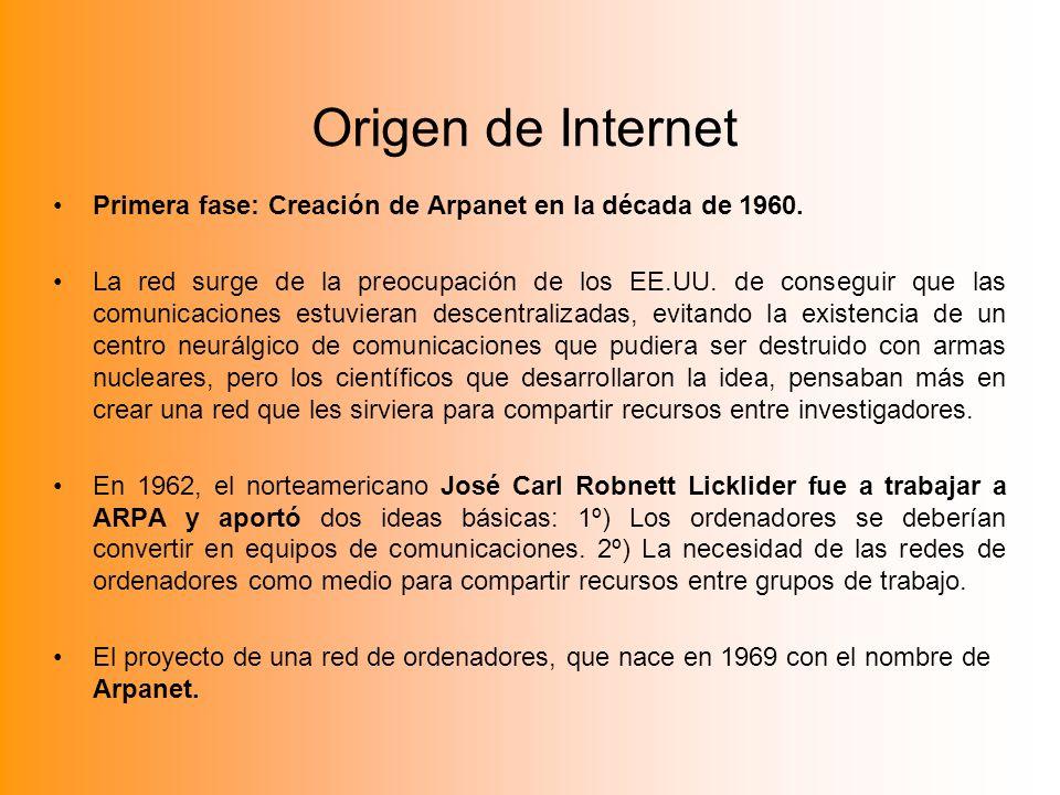 Origen de Internet Primera fase: Creación de Arpanet en la década de 1960. La red surge de la preocupación de los EE.UU. de conseguir que las comunica