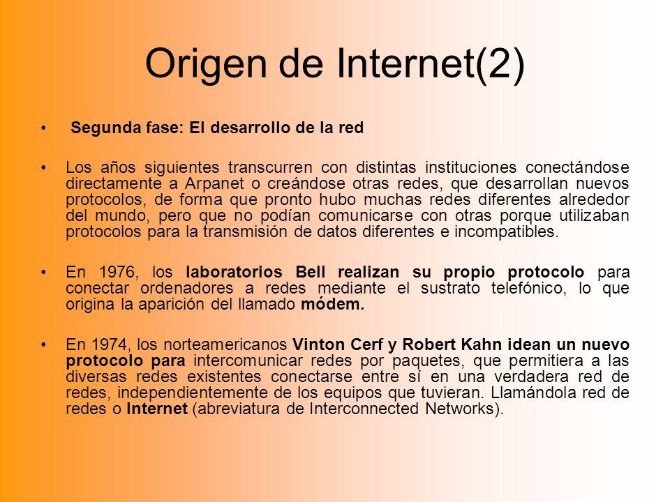 Origen de Internet(2) Segunda fase: El desarrollo de la red Los años siguientes transcurren con distintas instituciones conectándose directamente a Ar