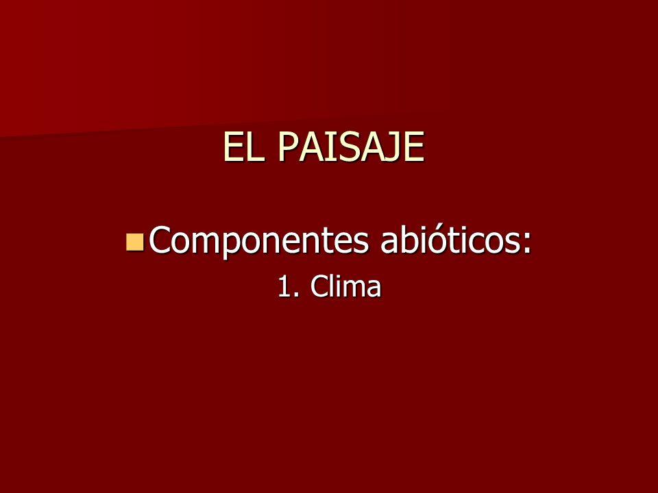 EL PAISAJE Componentes abióticos: Componentes abióticos: 1. Clima