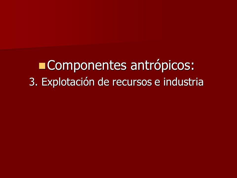 Componentes antrópicos: Componentes antrópicos: 3. Explotación de recursos e industria