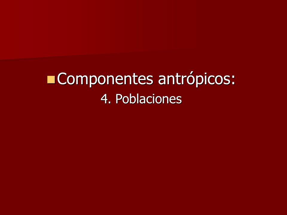 Componentes antrópicos: Componentes antrópicos: 4. Poblaciones