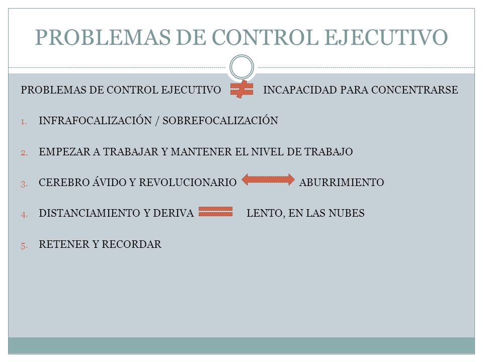 PROBLEMAS DE CONTROL EJECUTIVO PROBLEMAS DE CONTROL EJECUTIVO INCAPACIDAD PARA CONCENTRARSE 1. INFRAFOCALIZACIÓN / SOBREFOCALIZACIÓN 2. EMPEZAR A TRAB