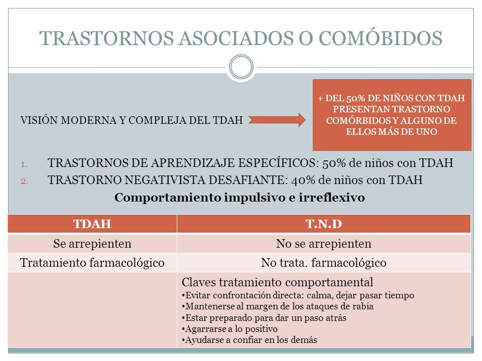 TRASTORNOS ASOCIADOS O COMÓBIDOS VISIÓN MODERNA Y COMPLEJA DEL TDAH 1. TRASTORNOS DE APRENDIZAJE ESPECÍFICOS: 50% de niños con TDAH 2. TRASTORNO NEGAT